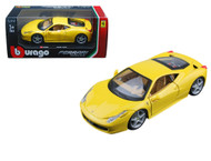 Ferrari 458 Italia Yellow 1/24 Scale Diecast Car Model By Bburago 26003