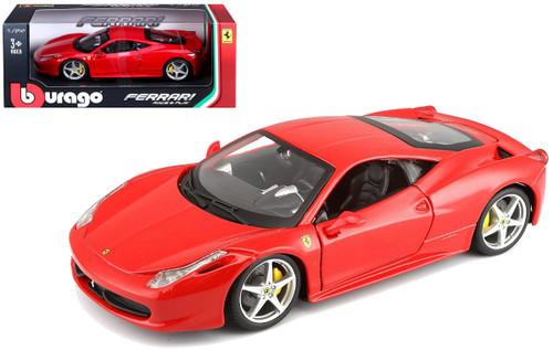 Ferrari 458 Italia Red 1/24 Scale Diecast Car Model By Bburago 26003
