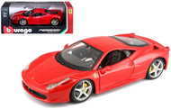 Ferrari 458 Italia Red 1/24 Scale Diecast Car Model By Bburago 26003