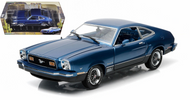 1976 FORD MUSTANG II MACH 1 BLUE 1/18 SCALE DIECAST CAR MODEL BY GREENLIGHT 12868