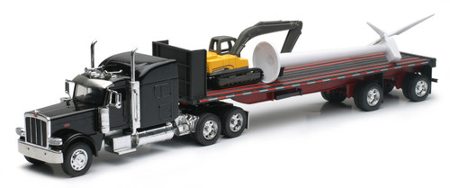 Peterbilt 389 With Excavator & Wind Turbine Semi Truck 1/32 Scale By Newray 10333