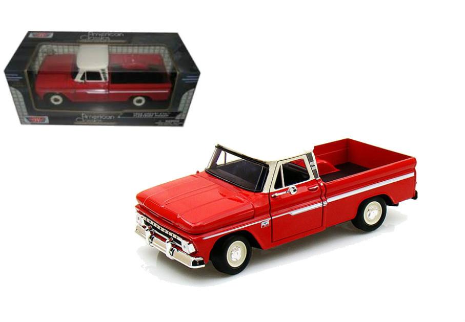 d23aedccae508 1966 Chevrolet C-10 Fleetside Pickup Truck Red 1 24 Scale Diecast ...