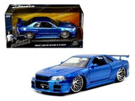 Nissan Skyline GT-R R34 Brians Fast & Furious Blue 1/24 Scale Diecast Car Model 97173