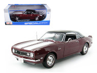 1968 Chevrolet Camaro Z28 Coupe Hard Top Maroon 1/18 Scale Diecast Car Model By Maisto 31685