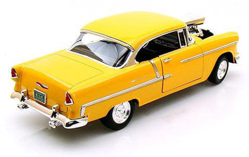 1955 Chevrolet Bel Air With Blower Yellow 118 Scale Diecast Car