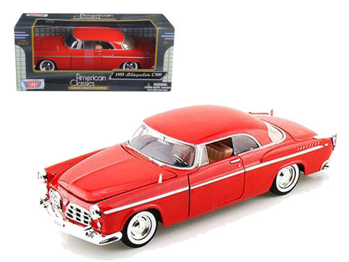 1955 Chrysler C300 Red 1/24 Scale Diecast Car Model By Motor Max 73302