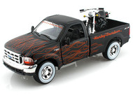 1999 Ford F-350 Super Duty Pick Up Truck & 2002 FXSTB Night Train Harley Davidson Motorcycle 1/24 Scale Diecast Model By Maisto 32181