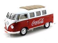 1962 Volkswagen Samba Bus Van Coca Cola Red & White 1/18 Scale Diecast Model By Motor City Classics 397471