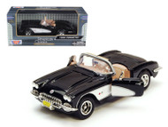 1959 Chevrolet Corvette Convertible Black 1/24 Scale Diecast Car Model By Motor Max 73216