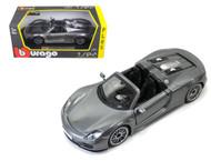 Porsche 918 Spyder Grey 1/24 Scale Diecast Car Model By Bburago 21076