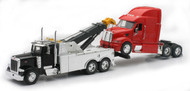 Peterbilt Tow Truck With Red Peterbilt Cab Semi Truck 1/32 Scale By Newray 12053
