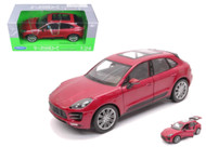Porsche Macan Turbo Red 1/24 Scale Diecast Car Model By Welly 24047