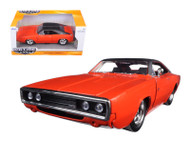 1970 Dodge Charger R/T Orange 1/24 Scale Diecast Car Model By Jada 97593