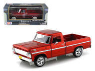 1969 Ford F-100 Pickup Truck Burgundy 1/24 Scale Diecast Model By Motor Max 79315