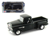 1955 Chevrolet Stepside 5100 Pick Up Truck Black 1/24 Scale Diecast Model By Motor Max 73236