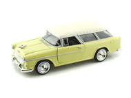 1955 Chevrolet Chevy Bel Air Nomad Yellow 1/24 Scale Diecast Car Model By Motor Max 73248