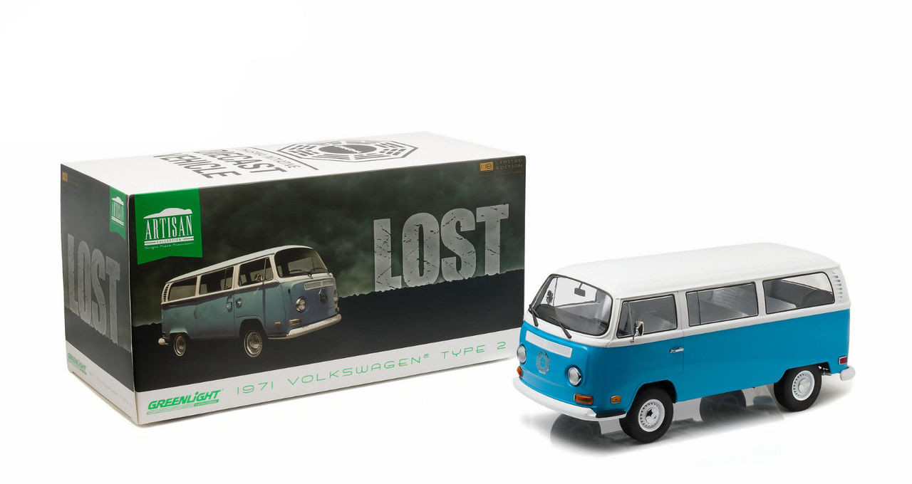 VW T2 b Bus 1971 Dharma Lost blau weiß Modellauto 1:24 Greenlight Collectibles