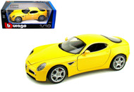 Alfa Romeo 8C Competizione Yellow 1/18 Scale Diecast Car Model By Bburago 12077