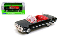 1963 Chevrolet Impala Convertible Black 1/24 Scale Diecast Car Model By Welly 22434
