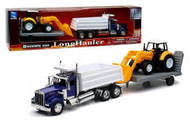 Newray 1/32 Scale Kenworth W900 Dump Truck W/ Wheel Loader Trailer Semi Truck 10663