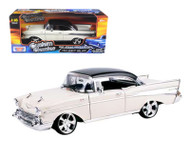 1957 Chevrolet Bel Air Black Top Cream Custom 1/18 Diecast Car Model By Motor Max 79006