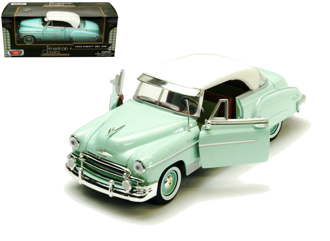 MOTORMAX 1950 BEL AIR DIECAST CAR LIGHT GREEN WITH WHITE TOP 1:24 NO BOX #512