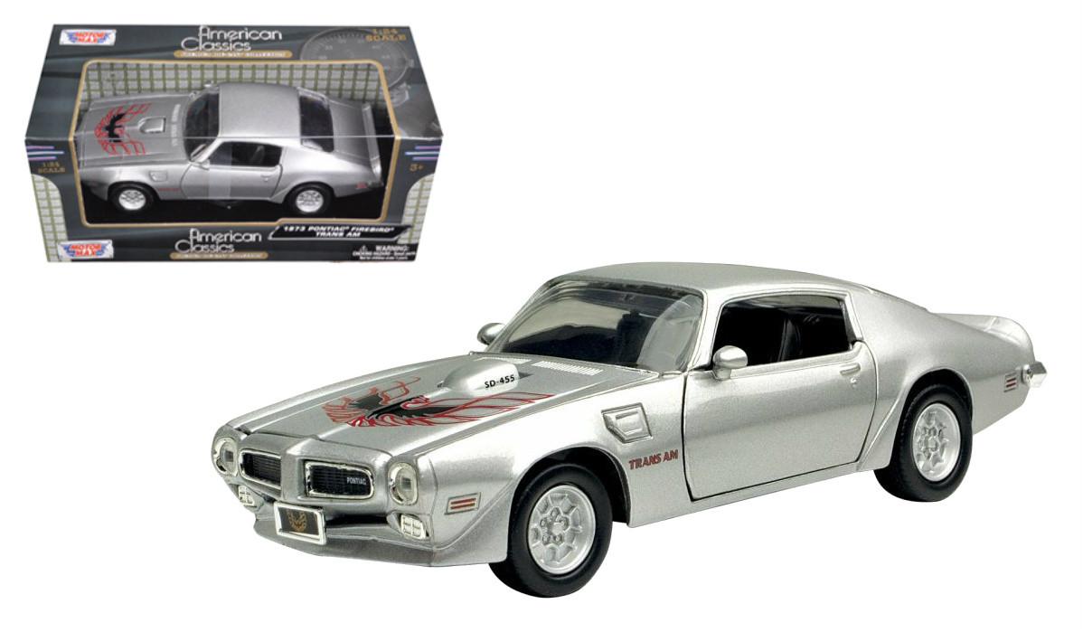 1973 Pontiac Firebird Trans Am T A Silver 1 24 Scale Diecast Car Model By Motor Max 73243