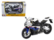 BMW S1000 RR WHITE W/RED & BLUE STRIPES 1/12 BIKE MOTORCYCLE MODEL MAISTO 31191