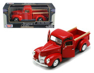 1940 Ford Pick Up Truck red 1/24 Scale Diecast Model By Motor Max 73234