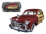 1949 Ford Woody Wagon Burgundy 1/24 Scale Diecast Car Model By Motor Max 73260