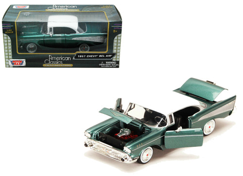 1957 Chevrolet Bel Air Green 1/24 Scale Diecast Car Model By Motor Max 73228