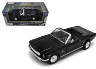 1964 1/2 Ford Mustang Convertible Black 1/24 Scale Diecast Car Model By Motor Max 73212