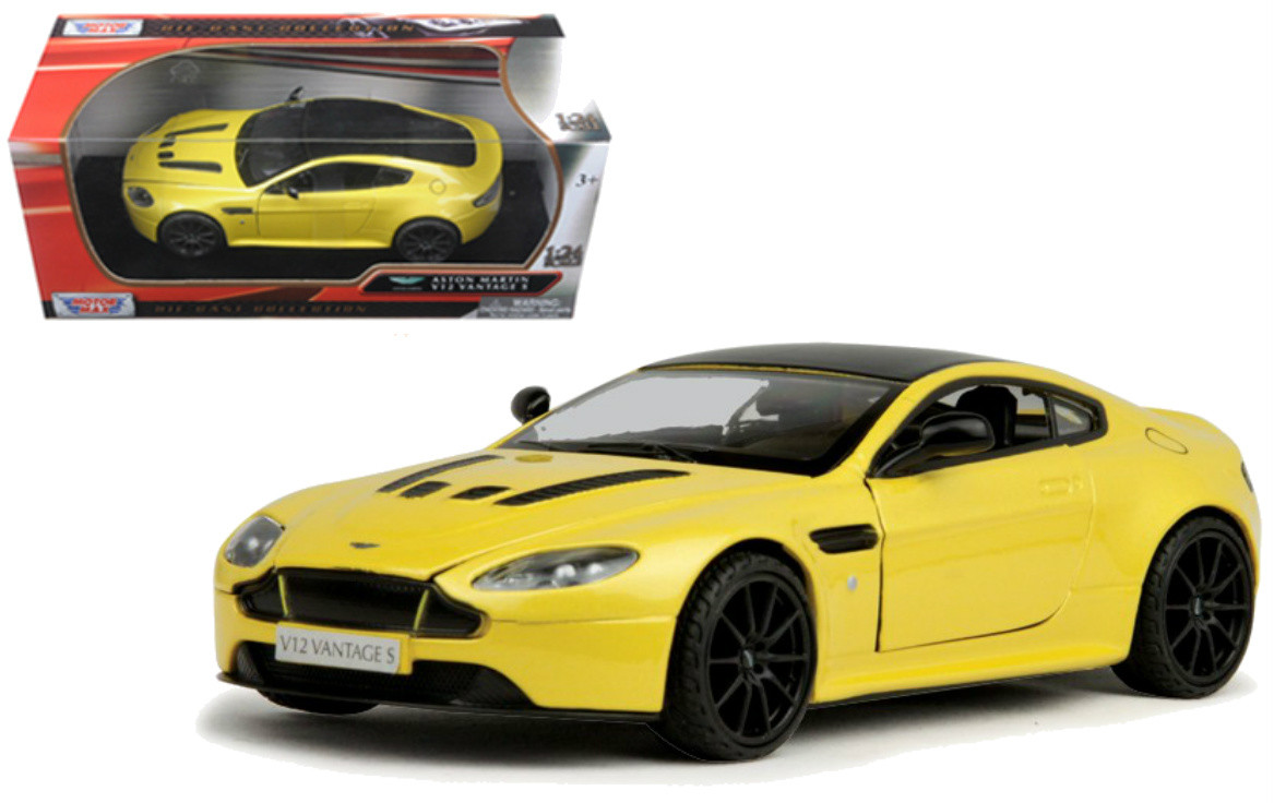 Aston Martin Vantage S V12 Yellow 1 24 Scale Diecast Car Model By Motor Max 79322