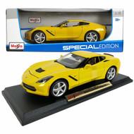 2014 Chevrolet Corvette Stingray C7 Yellow 1/18 Scale Diecast Car Model BY Maisto 31182