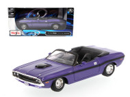 1970 Dodge Challenger R/T Convertible Purple 1/24 Scale Diecast Car Model By Maisto 31264