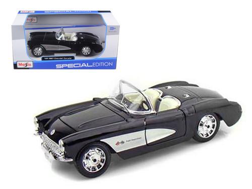 1957 Chevrolet Corvette Black & White 1/24 Scale Diecast Car Model By Maisto 31275