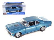 1970 Chevrolet Nova SS Coupe Blue 1/24 Scale Diecast Car Model By Maisto 31262