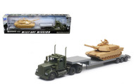 Newray Military Mission 1/43 Scale Kenworth W900 Lowboy With Tank Semi Truck Trailer 15953