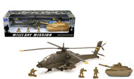 Newray Military Mission 1/43 Scale AH-64 Apache Helicopter W/ith Tank & Figures 21853