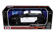 2015 Ford Interceptor Utility Police Black & White 1/18 Scale Diecast Car Model By Motor Max 73542