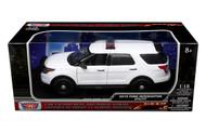 2015 Ford Interceptor Utility Police Plain White 1/18 Scale Diecast Car Model Motor Max 73541