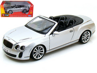 BENTLEY CONTINENTAL SS CONVERTIBLE ISR SUPERSPORT SILVER 1/18 SCALE DIECAST CAR MODEL BY BBURAGO 11035