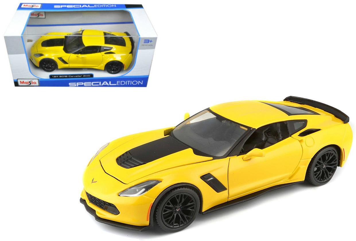 2015 Chevrolet Corvette Z06 C7 Stingray Yellow 1/24 Scale Diecast Car Model  By Maisto 31133