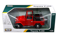 Toyota FJ40 Convertible Red 1/24 Scale Diecast Model By Motor Max 79330