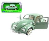 Volkswagen Beetle VW Green 1/24 Scale Diecast Car Model By Welly 22436