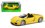 Porsche 918 Spyder Yellow 1/24 Scale Diecast Car Model By Welly 24055