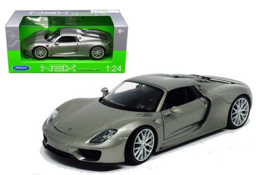 Porsche 918 Spyder Hard Top Silver 1/24 Scale Diecast Car Model By Welly 24055