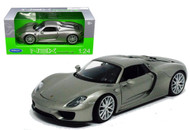 Porsche 918 Spyder Hard Top Silver 1/24 Scale Diecast Car Model By Welly 24055