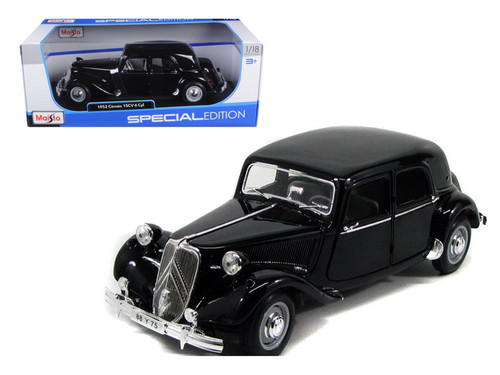 1952 Citroen 15CV 6 Cylinder Black 1/18 Scale Diecast Car Model By Maisto 31821