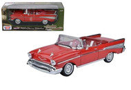 1957 Chevrolet Bel Air Convertible Red 1/18 Scale Diecast Car Model By Motor Max 73175